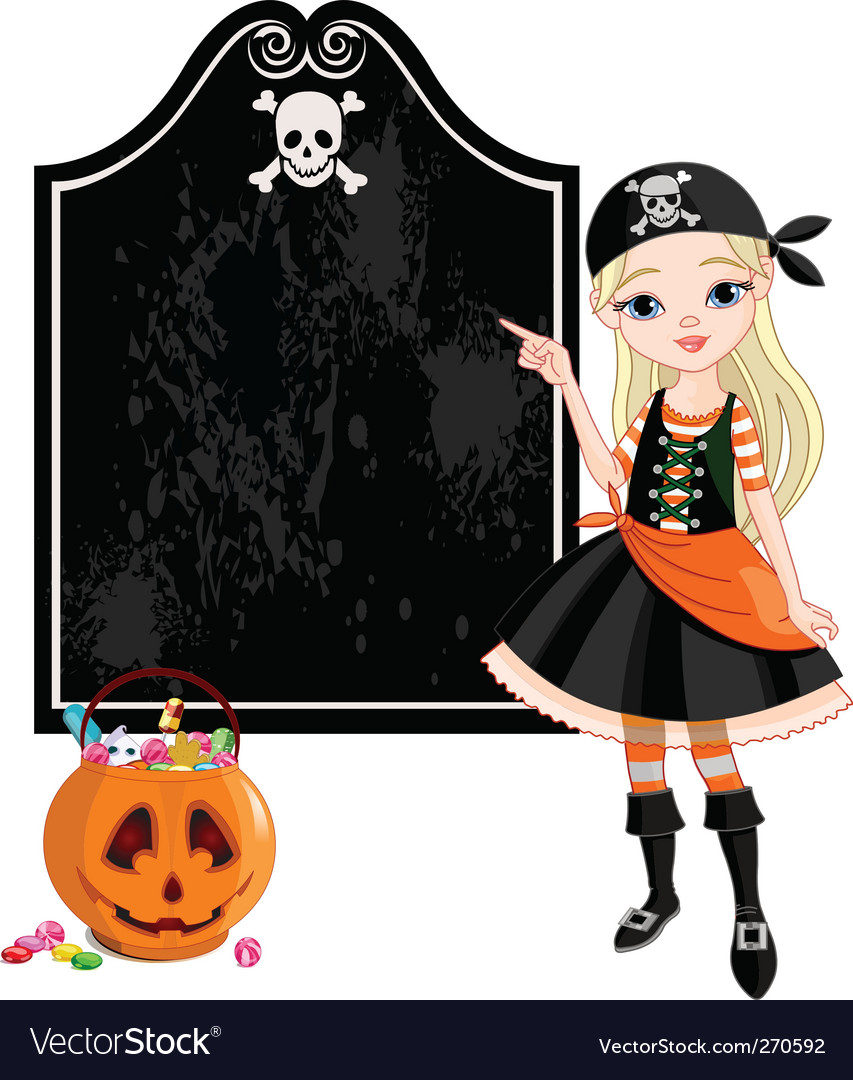 Halloween pirate girl pointing vector | Price: 3 Credit (USD $3)