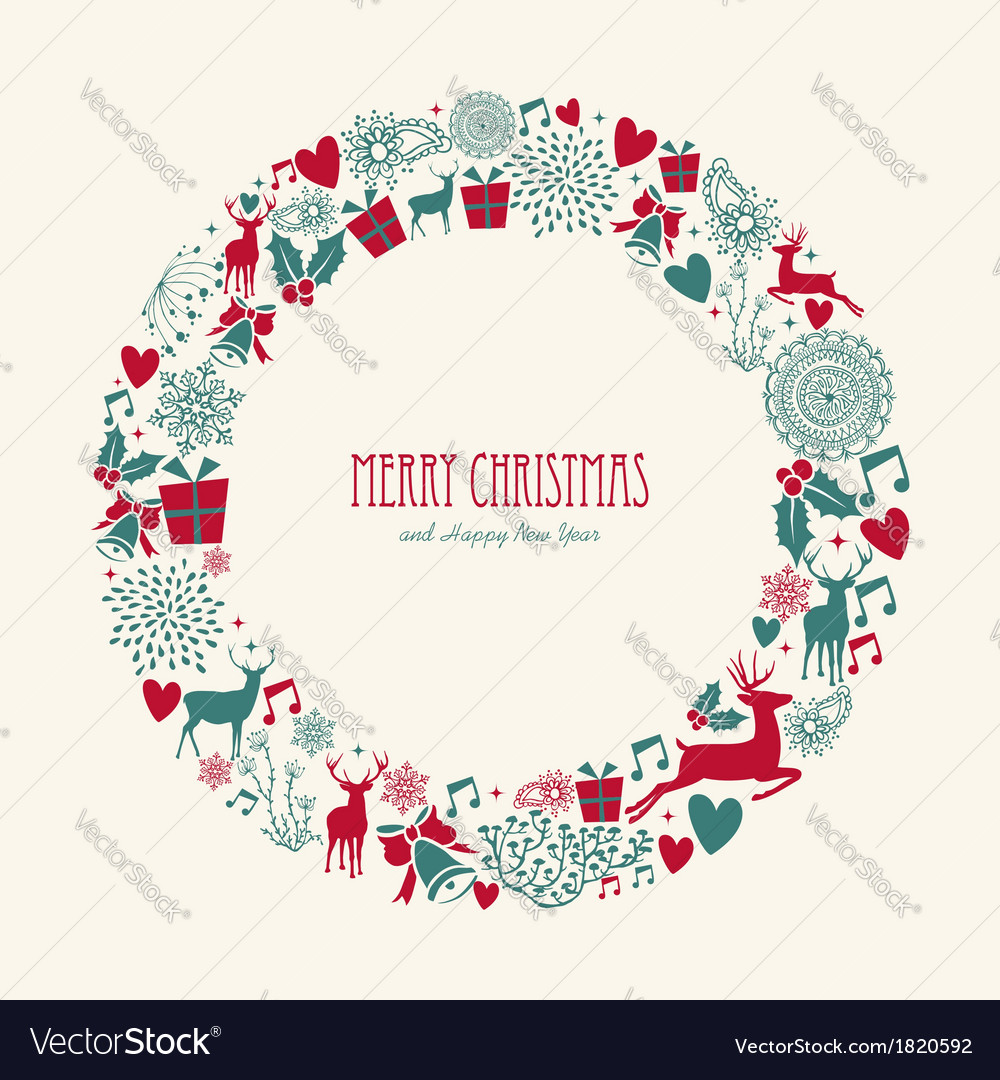 Merry christmas elements decoration circle shape vector | Price: 1 Credit (USD $1)