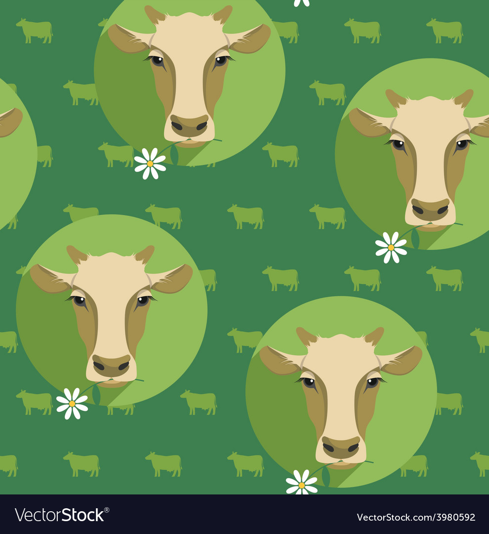 Modern flat design seamless of cow vector | Price: 1 Credit (USD $1)