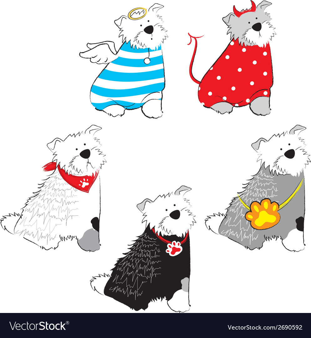 Set of dog in costume vector