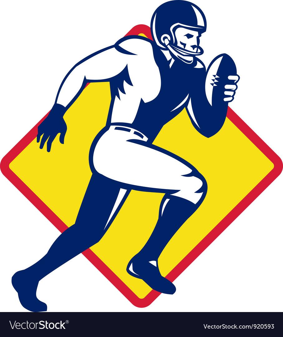American quarterback football player running vector | Price: 1 Credit (USD $1)