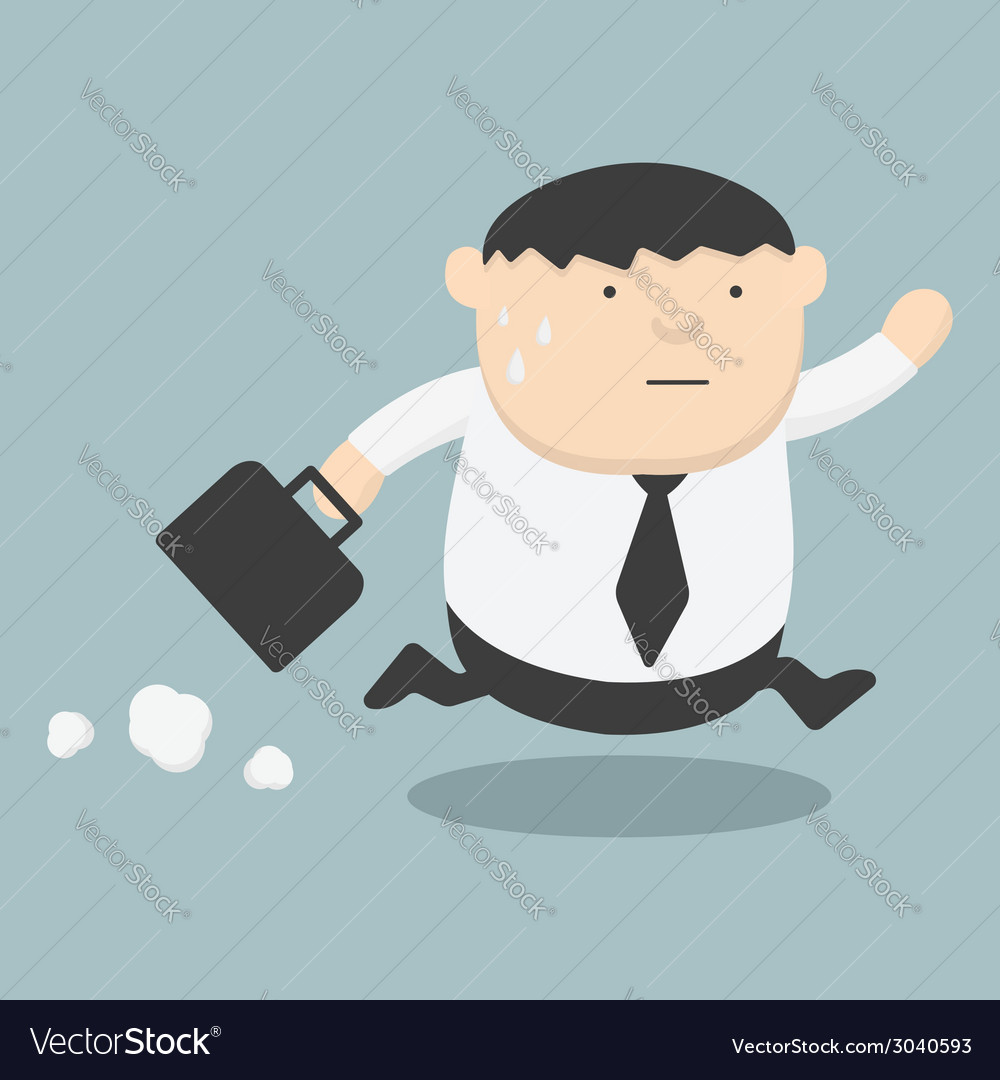 Business fat running late vector | Price: 1 Credit (USD $1)