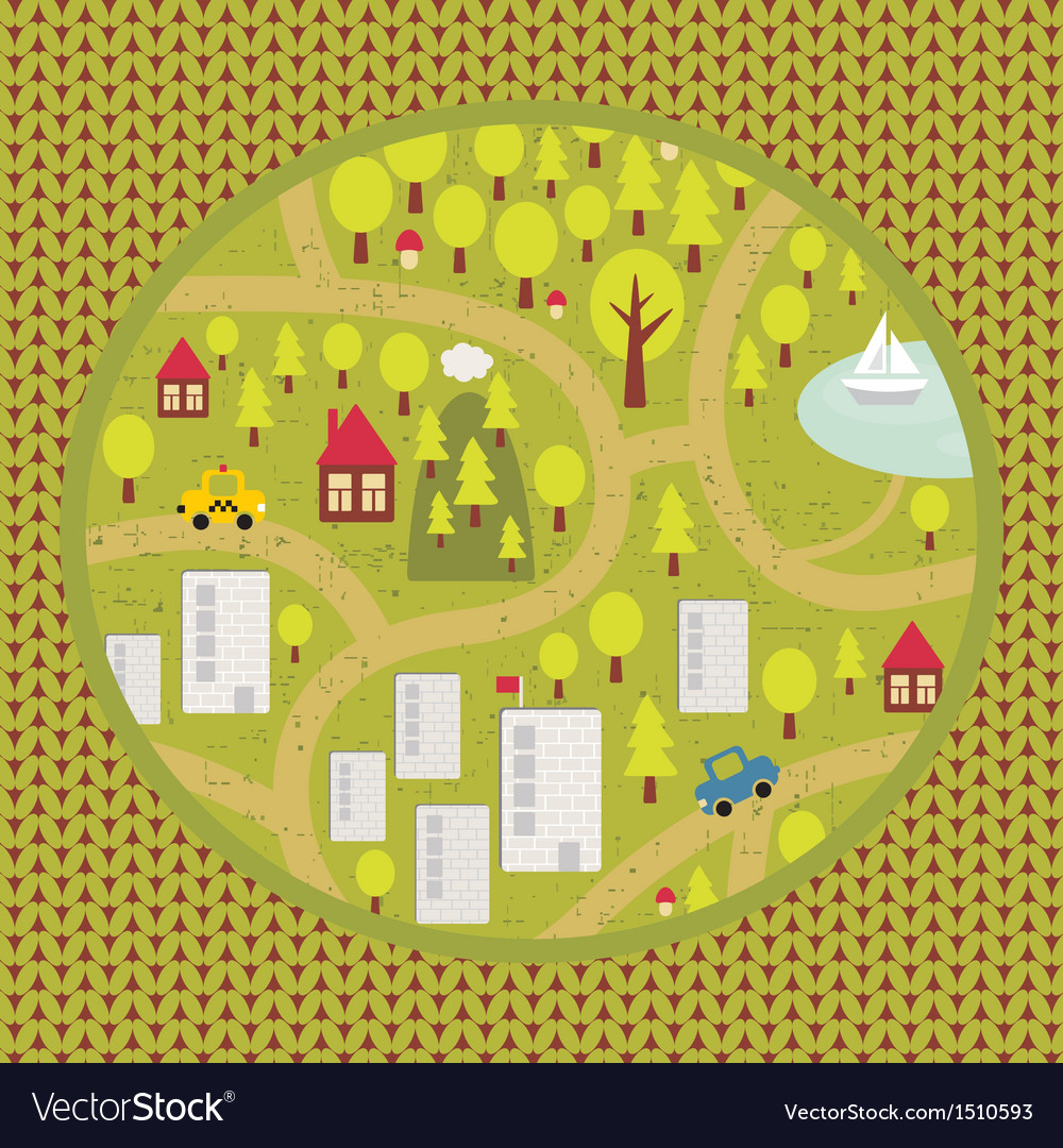 Cartoon map pattern of small town and countryside vector | Price: 1 Credit (USD $1)