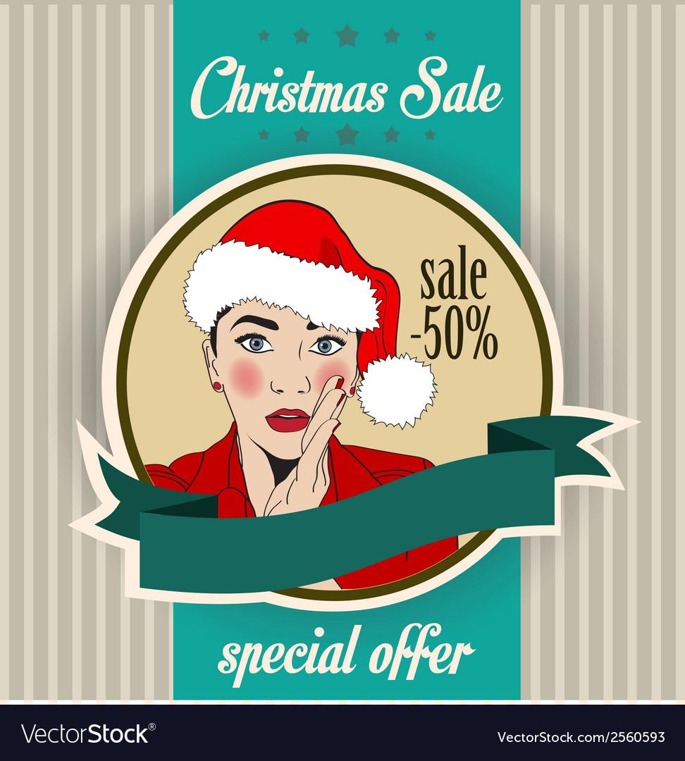 Christmas sale design with sexy santa girl vector   Price: 1 Credit (USD $1)