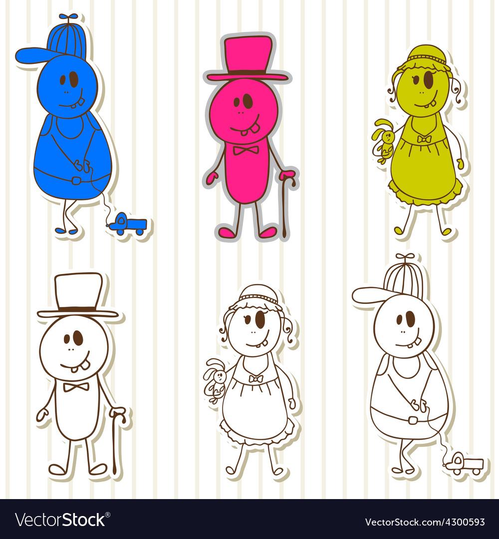 Cute little monsters halloween funny kids vector | Price: 1 Credit (USD $1)