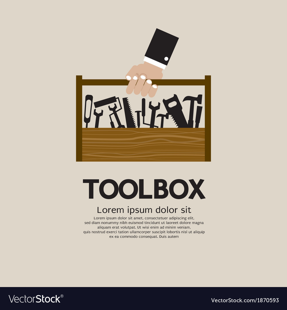 Hand holding a mechanic toolbox vector | Price: 1 Credit (USD $1)