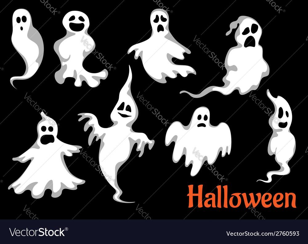 Night halloween ghosts set vector | Price: 1 Credit (USD $1)