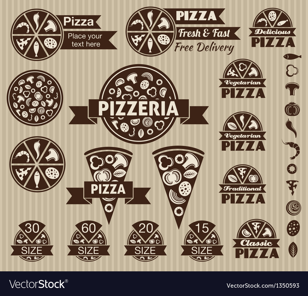 Set of pizza design elements vector | Price: 1 Credit (USD $1)