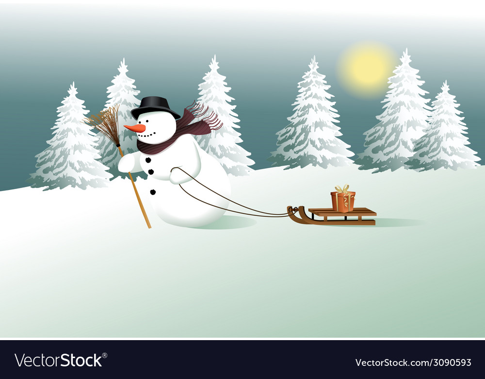 Winter background with snowman vector | Price: 1 Credit (USD $1)