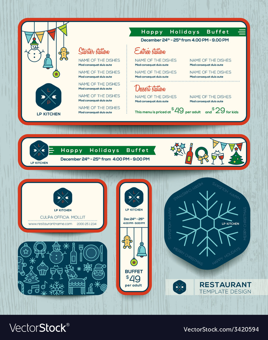 Christmas party restaurant menu set design templat vector | Price: 1 Credit (USD $1)