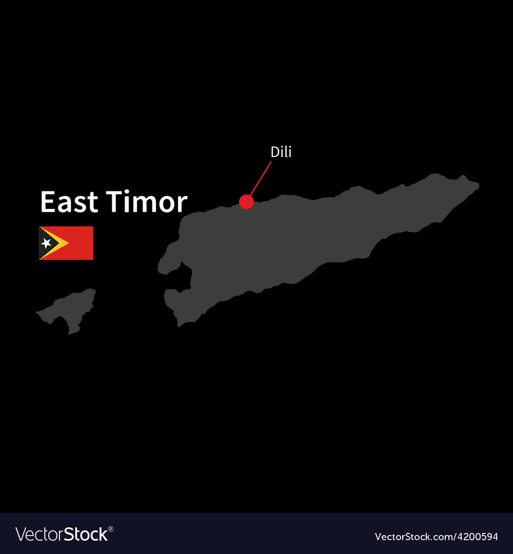 Detailed map of east timor and capital city dili vector | Price: 1 Credit (USD $1)