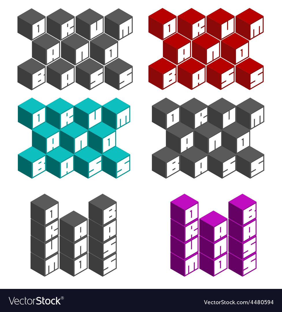 Drum and bass cubic square fonts in different colo vector | Price: 1 Credit (USD $1)