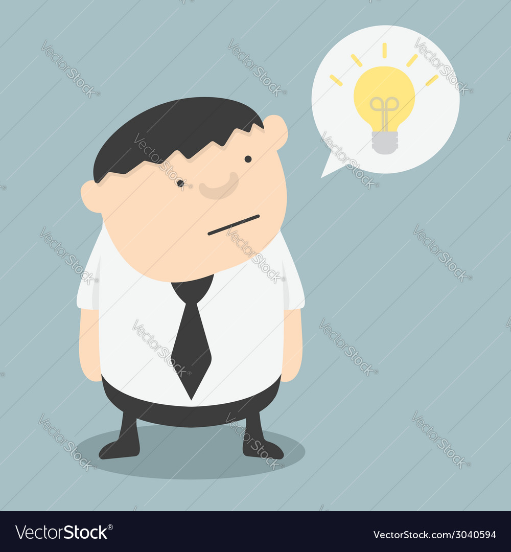 Fat businessman with ideas themselves vector | Price: 1 Credit (USD $1)