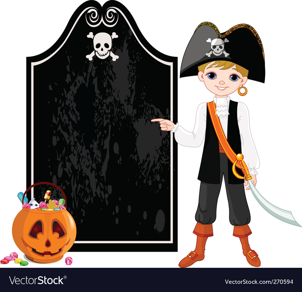 Halloween pirate pointing vector | Price: 3 Credit (USD $3)