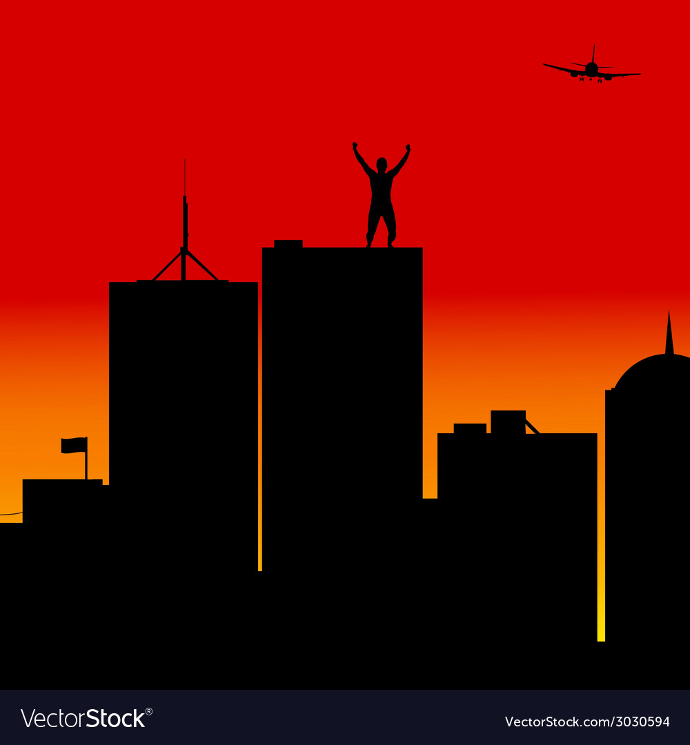 Man on top of the building vector | Price: 1 Credit (USD $1)
