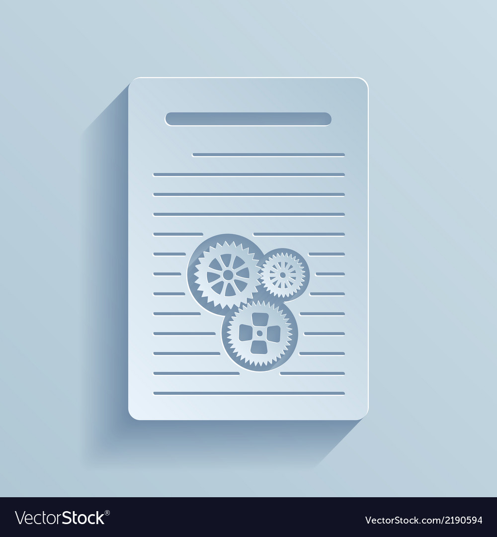 Paper icon of document with gears vector | Price: 1 Credit (USD $1)