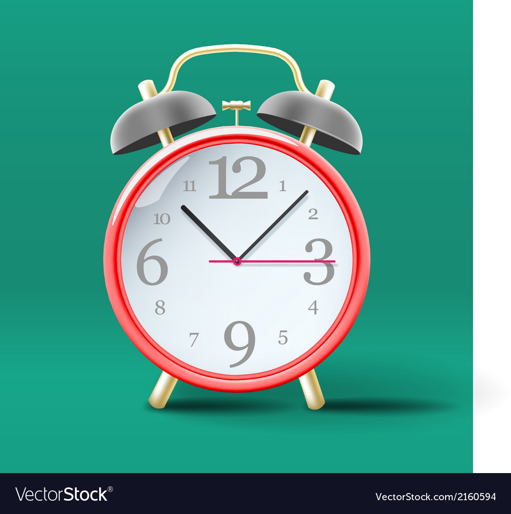 Red vintage alarm clock on green background vector | Price: 1 Credit (USD $1)