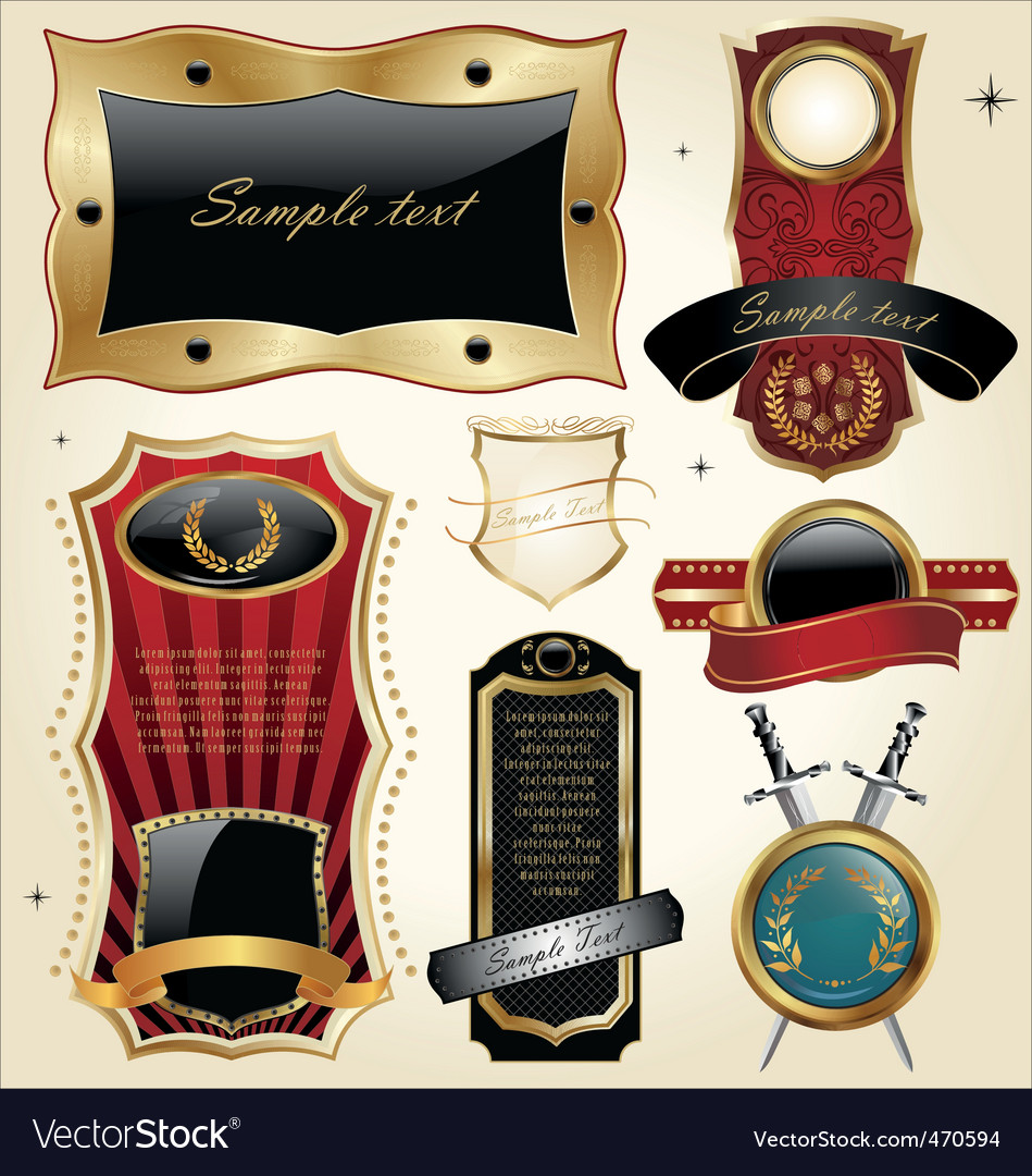 Set of golden luxury frames vector | Price: 3 Credit (USD $3)