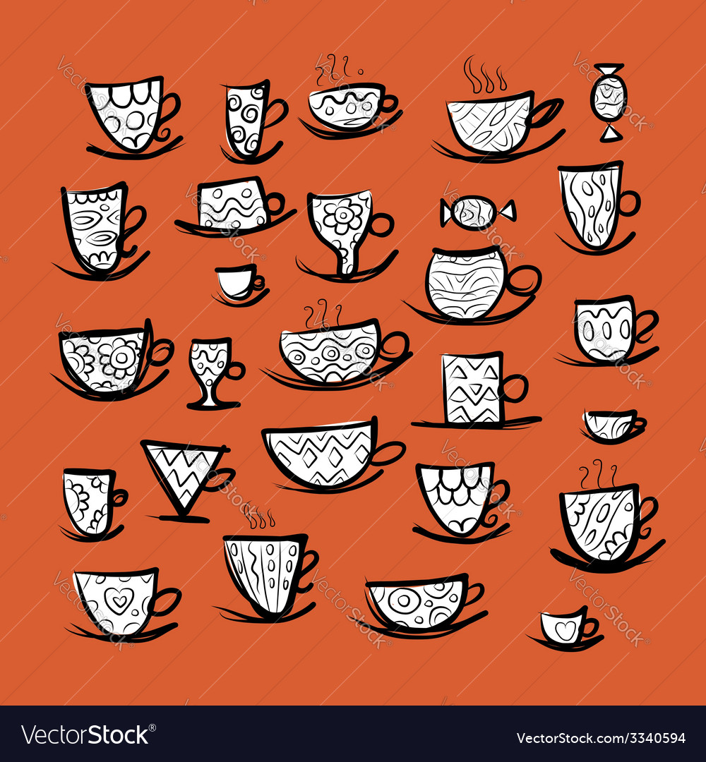 Set of ornate mugs sketch for your design vector | Price: 1 Credit (USD $1)