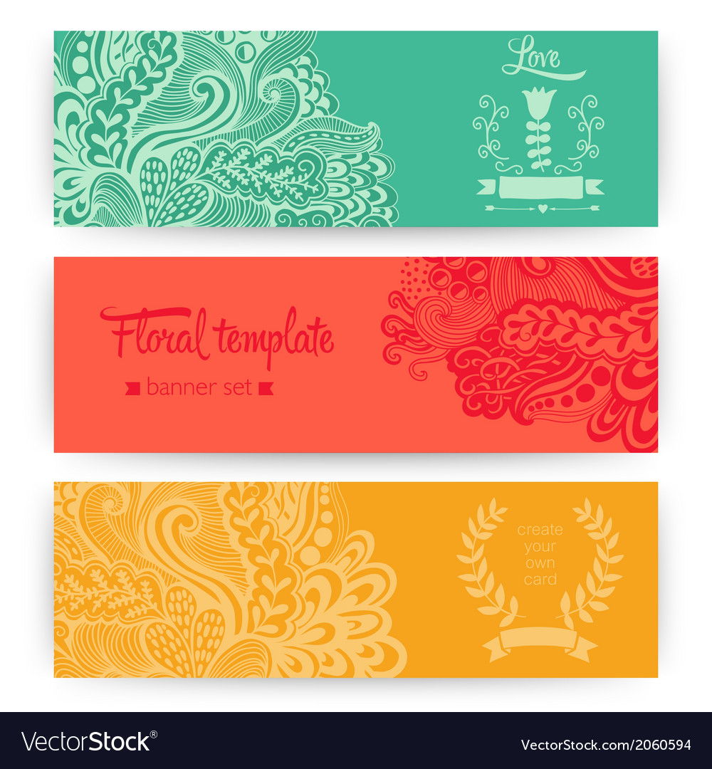 Stylish floral banners bright doodle cartoon cards vector | Price: 1 Credit (USD $1)