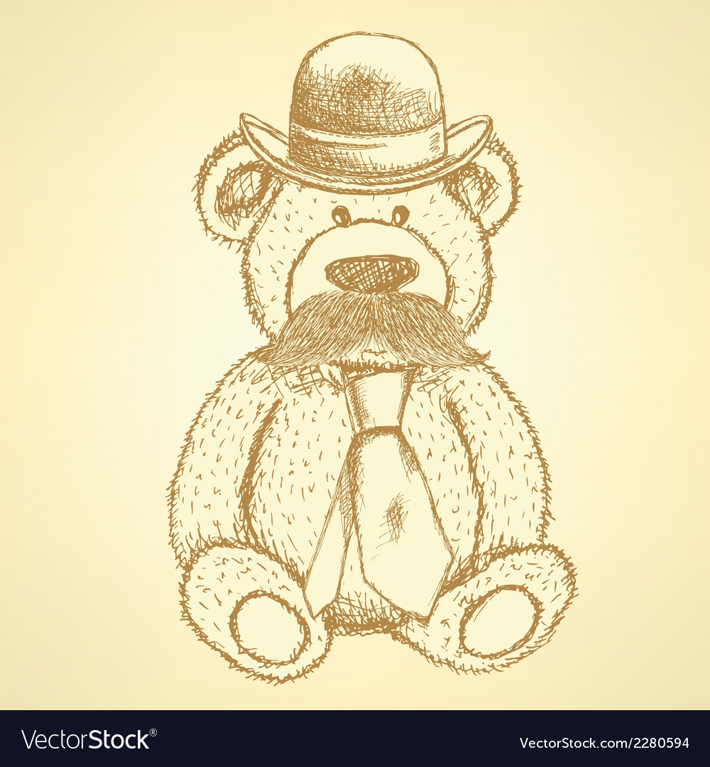 Teddy hat mustache tie vector | Price: 1 Credit (USD $1)