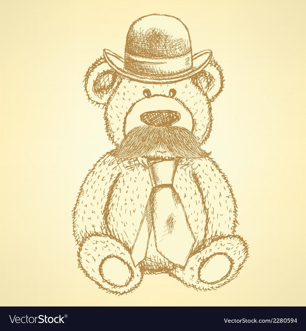 Teddy hat mustache tie vector | Price: 1 Credit (USD $1)