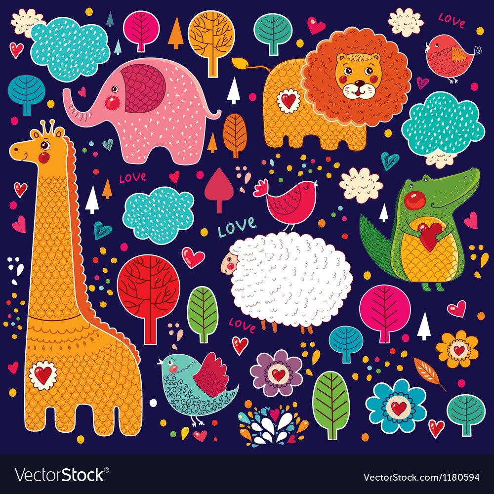 Various animals on colorful background vector | Price: 3 Credit (USD $3)