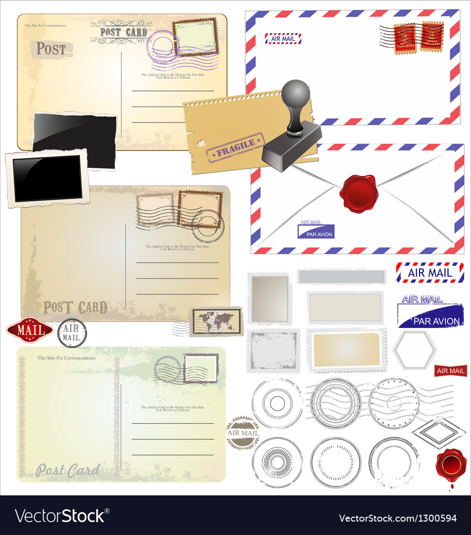 Vintage postcard designs and postage elements vector | Price: 1 Credit (USD $1)