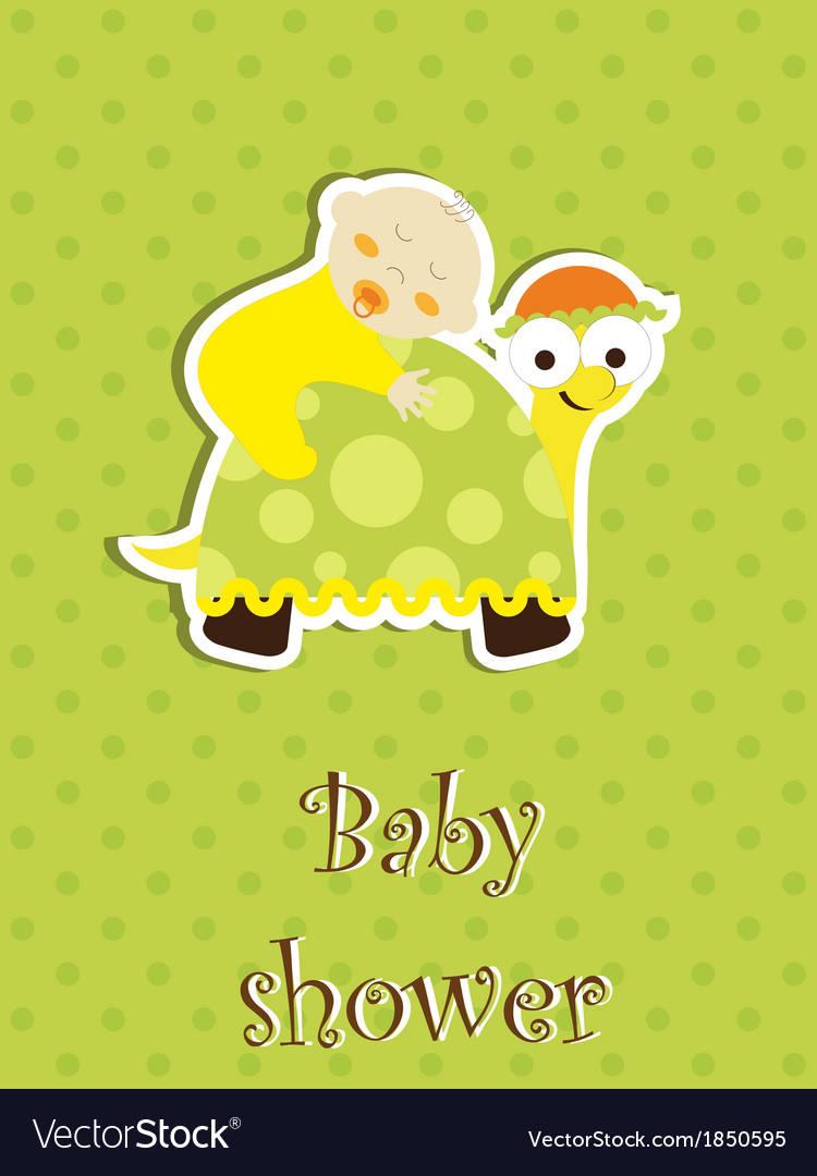 Baby shower card - baby sleep on a turtle vector | Price: 1 Credit (USD $1)