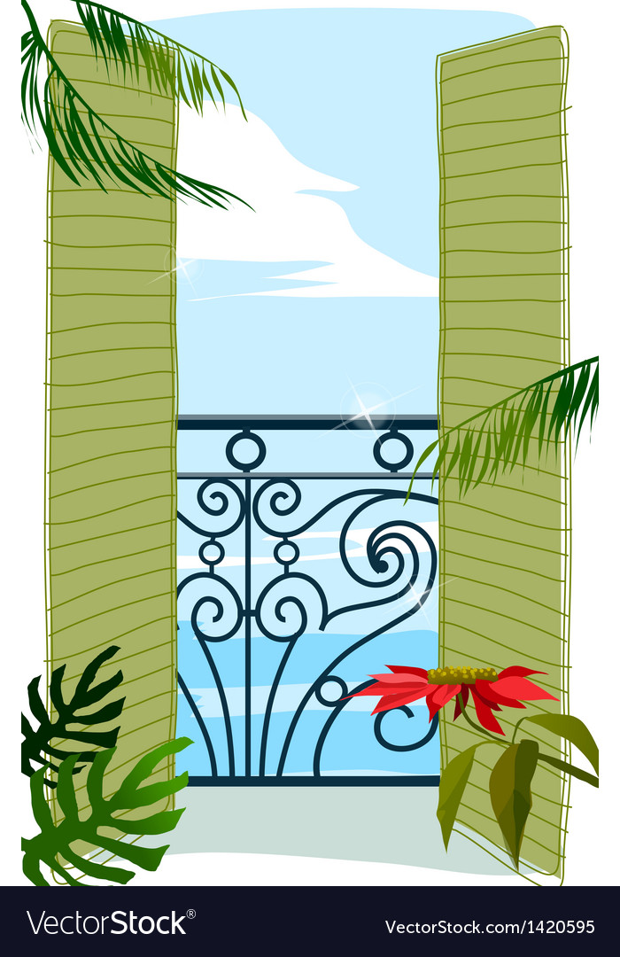 Balcony door to sea vector | Price: 1 Credit (USD $1)