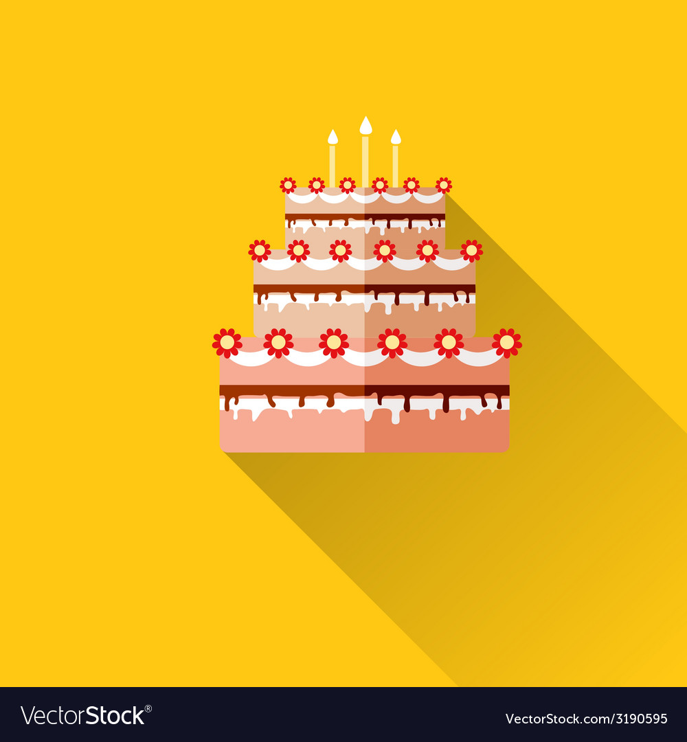 Birthday cake flat icon with long shadoweps10 vector | Price: 1 Credit (USD $1)
