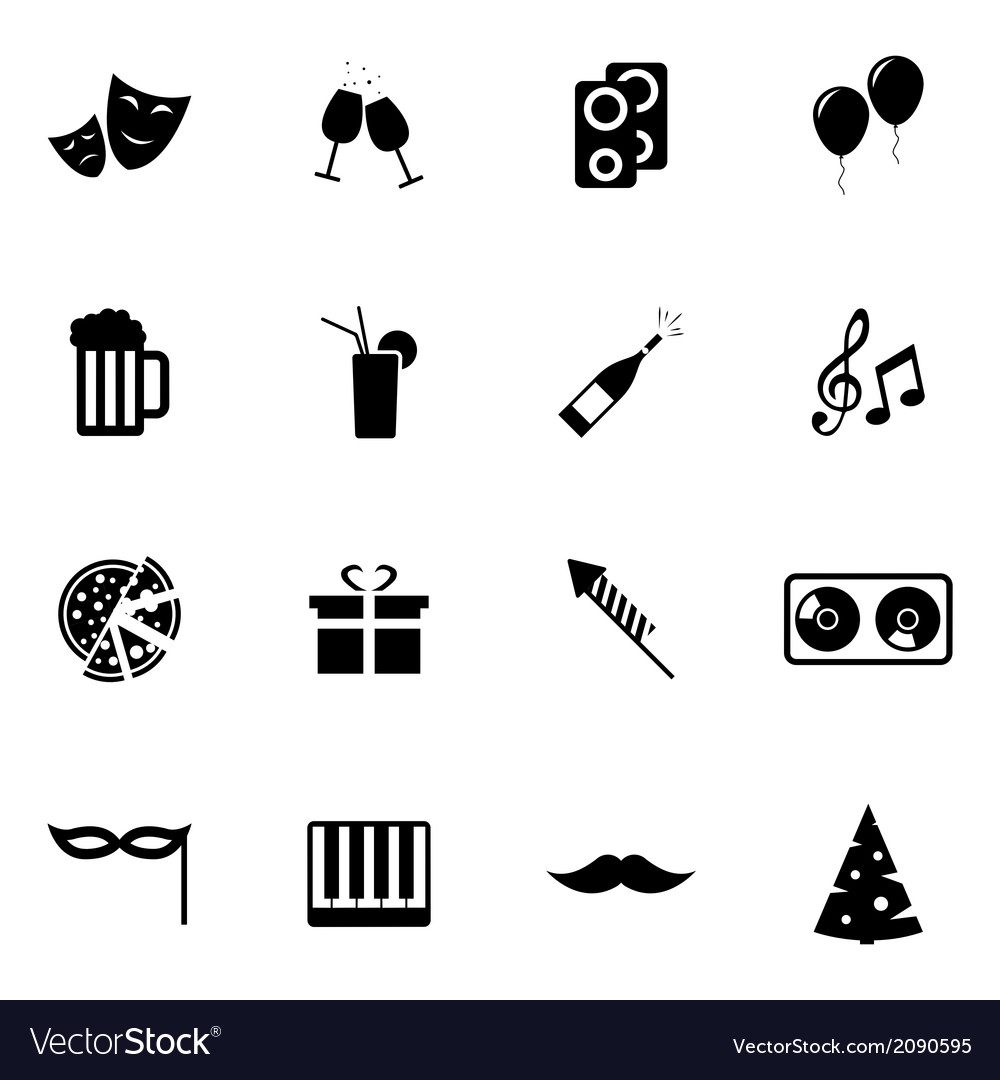 Black party icons set vector | Price: 1 Credit (USD $1)