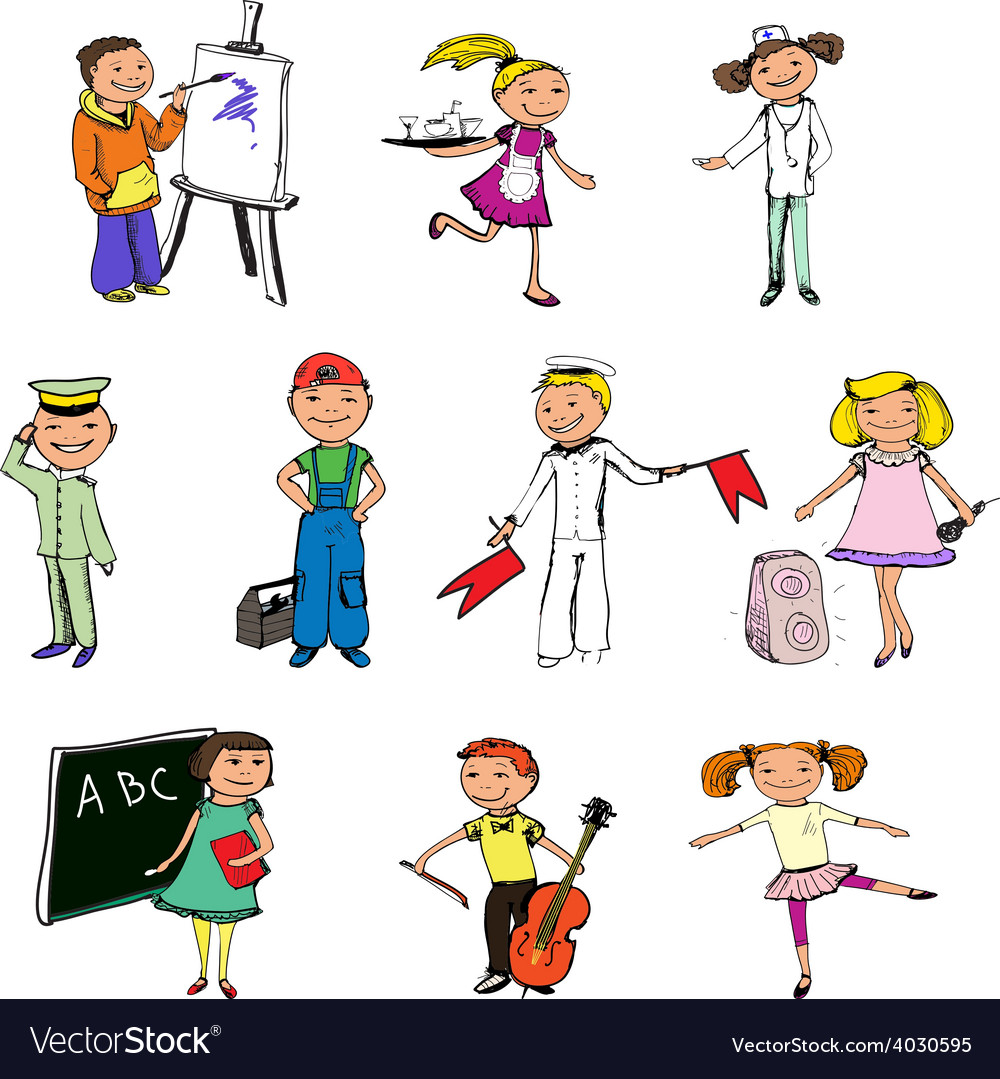 Children professions characters vector | Price: 1 Credit (USD $1)