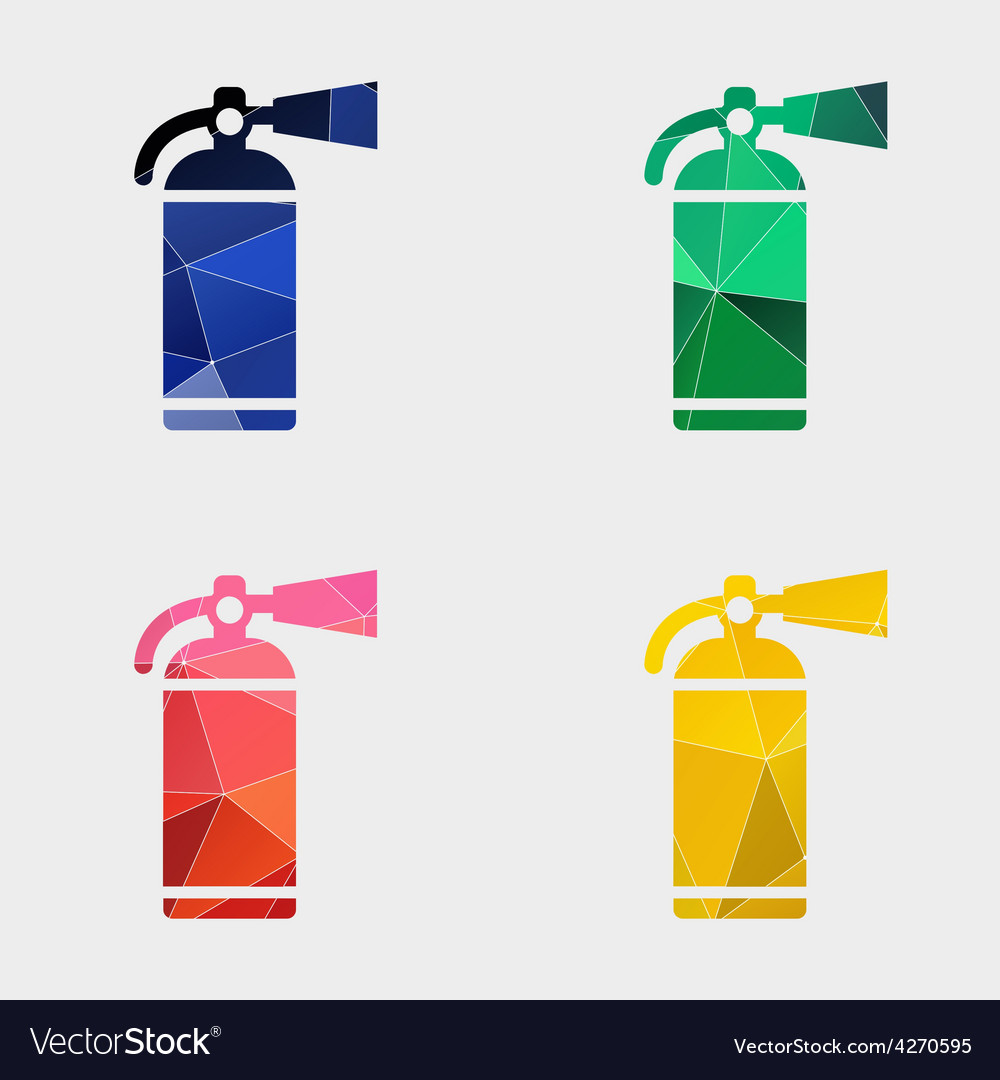 Fire extinguisher icon abstract triangle vector | Price: 1 Credit (USD $1)