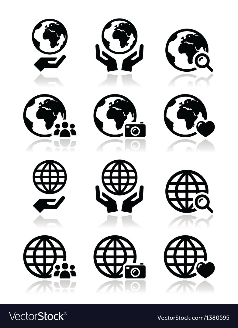 Globe earth with hands icons set with refle vector | Price: 1 Credit (USD $1)