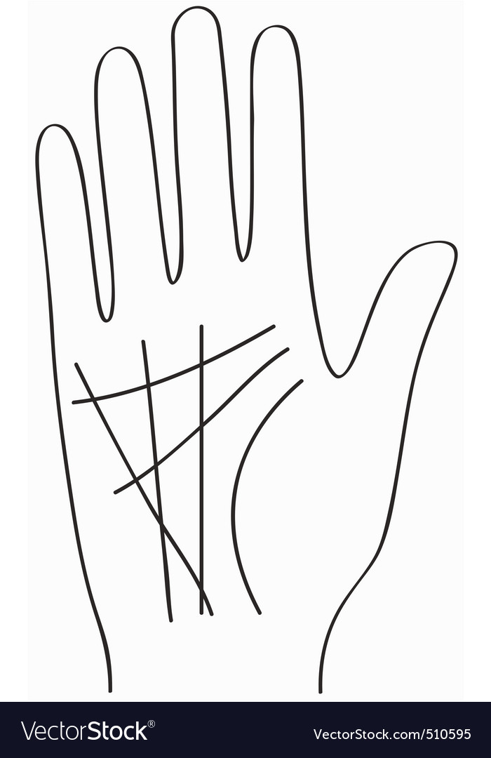 Hand chiromancy lines black contour of a palm vector | Price: 1 Credit (USD $1)