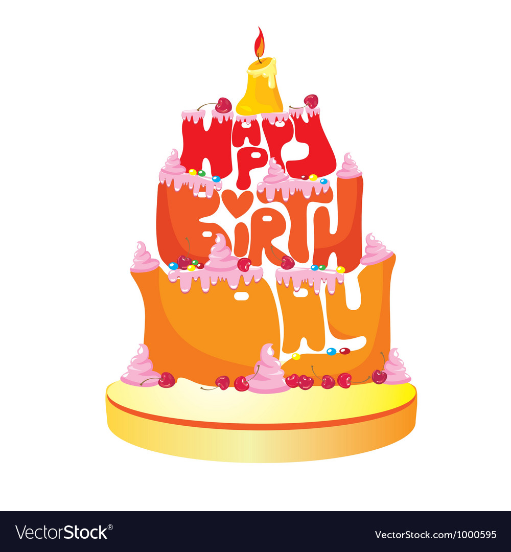 Happy birthday text cake vector | Price: 3 Credit (USD $3)