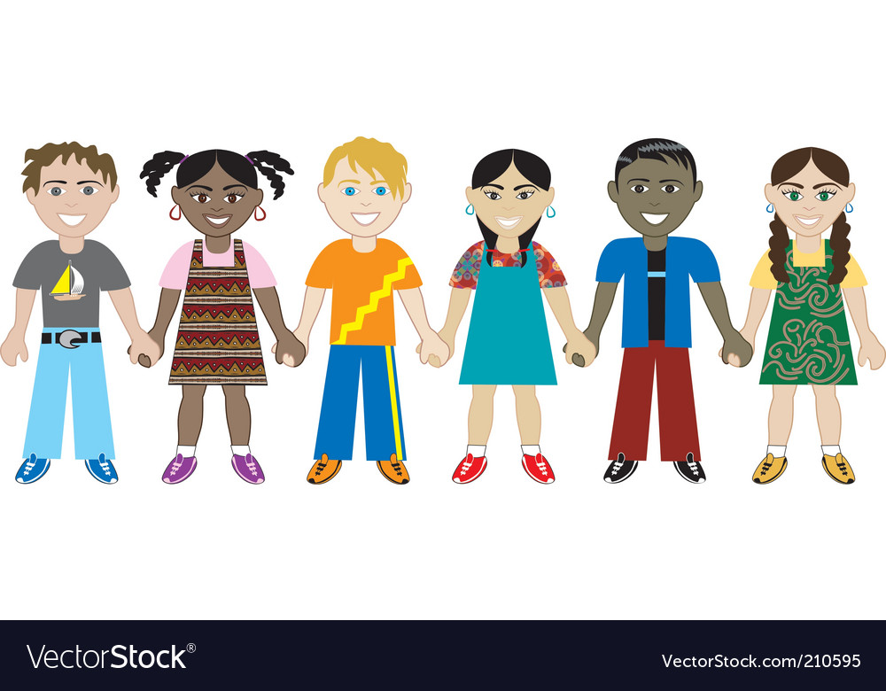 Kids hold hands vector   Price: 1 Credit (USD $1)
