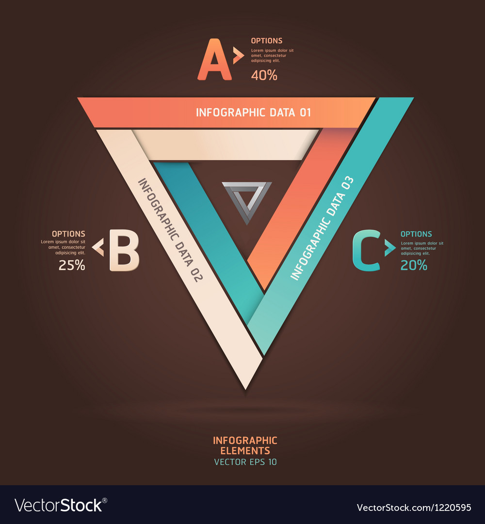 Modern infographic infinite triangle origami style vector | Price: 3 Credit (USD $3)