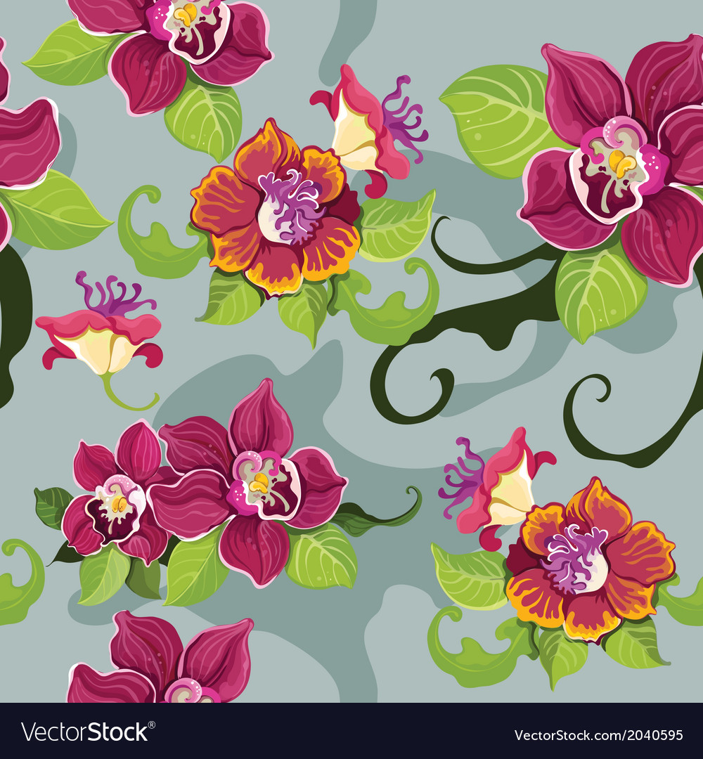 Seamless tropical flower pattern vector | Price: 1 Credit (USD $1)