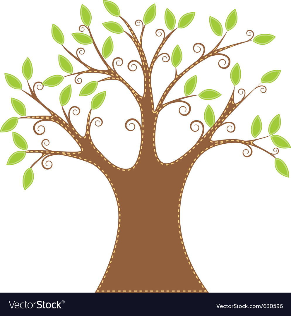 Green tree embroidered applique vector | Price: 1 Credit (USD $1)