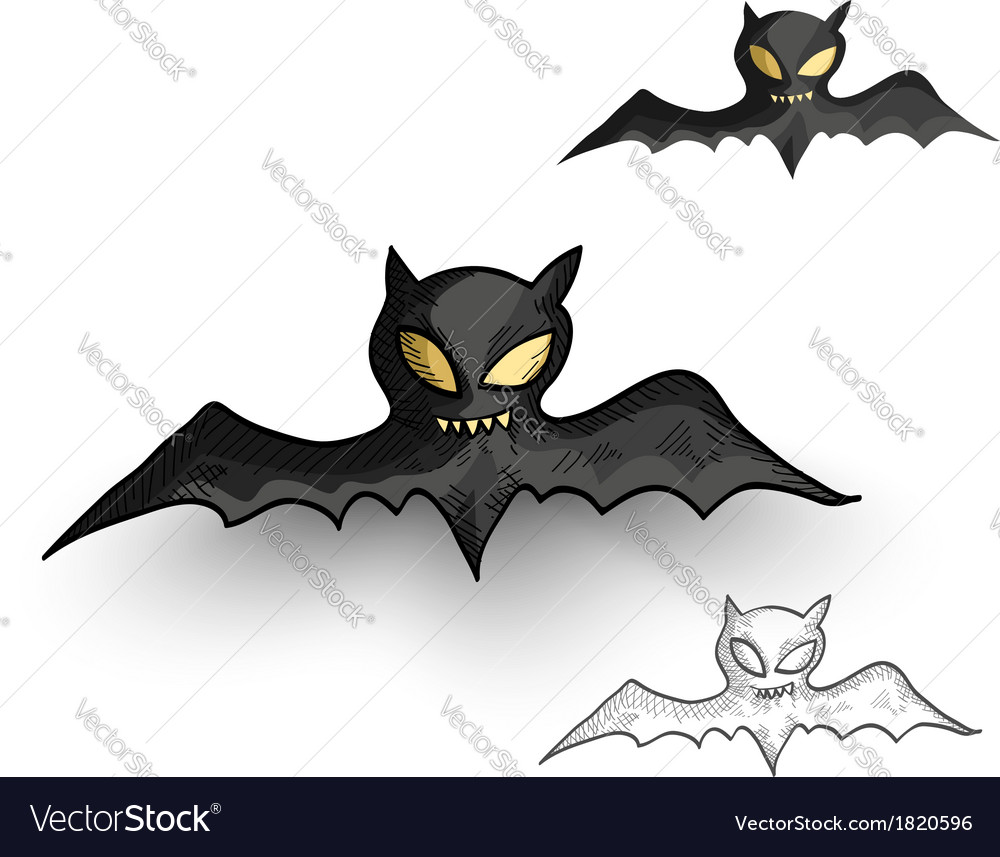 Halloween monsters spooky vampire bats isolated vector | Price: 1 Credit (USD $1)