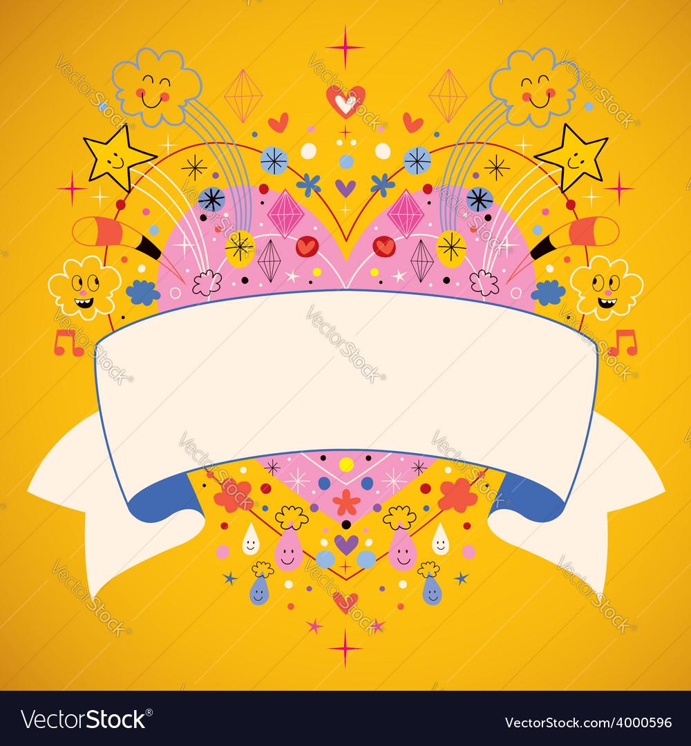 Heart with blank ribbon cartoon vector | Price: 1 Credit (USD $1)