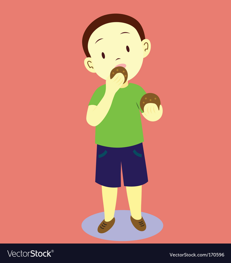 Kids eating cookies vector | Price: 1 Credit (USD $1)