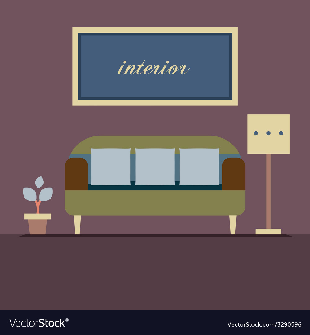 Modern design interior sofa vector | Price: 1 Credit (USD $1)