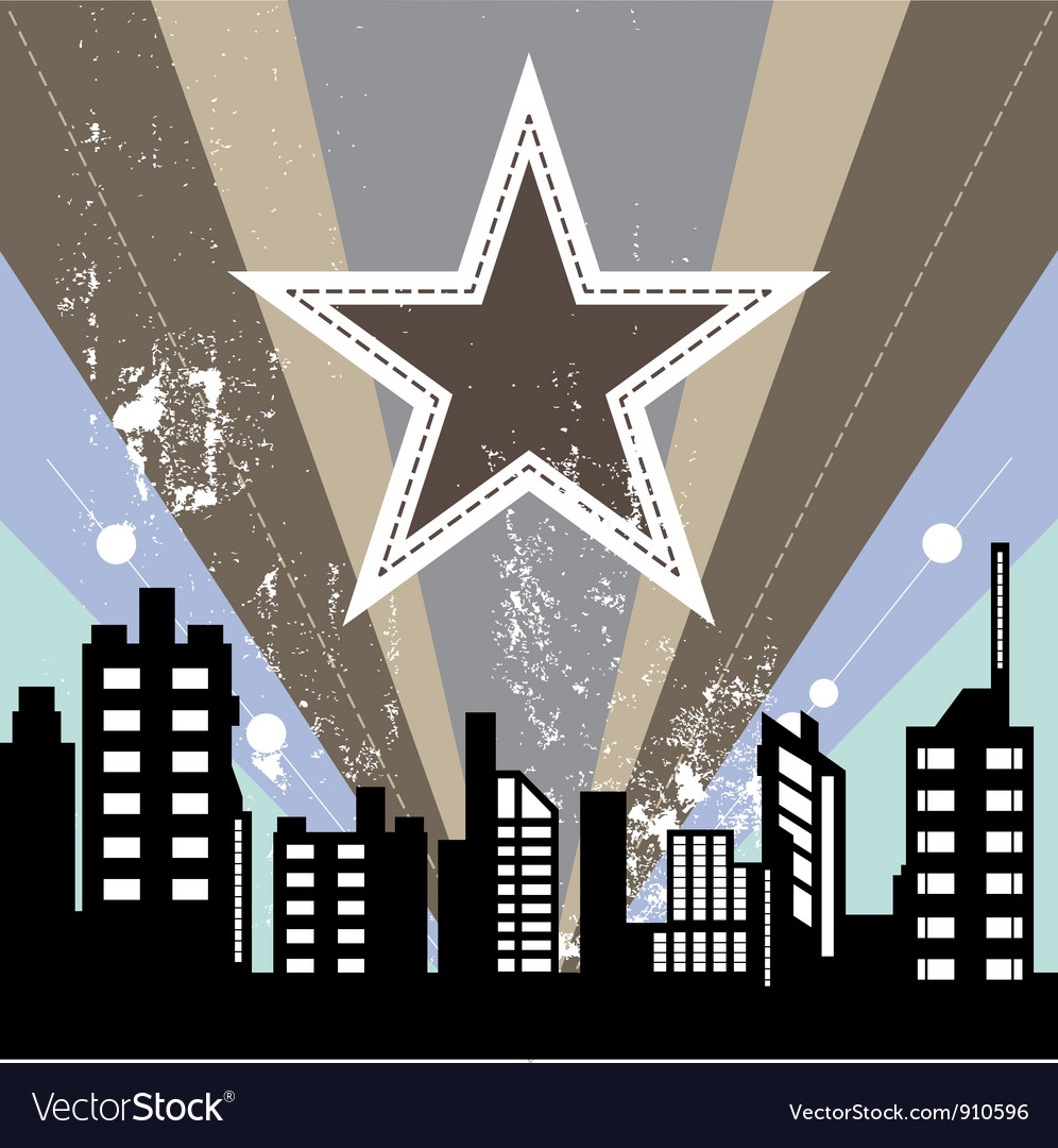 Urban scene with retro background vector | Price: 1 Credit (USD $1)