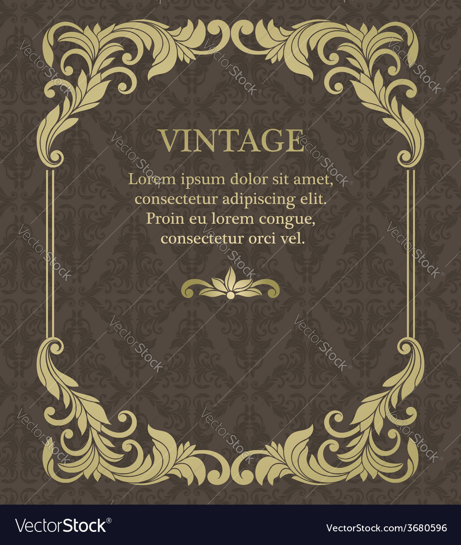 Vintage invitation border and frame template vector | Price: 1 Credit (USD $1)