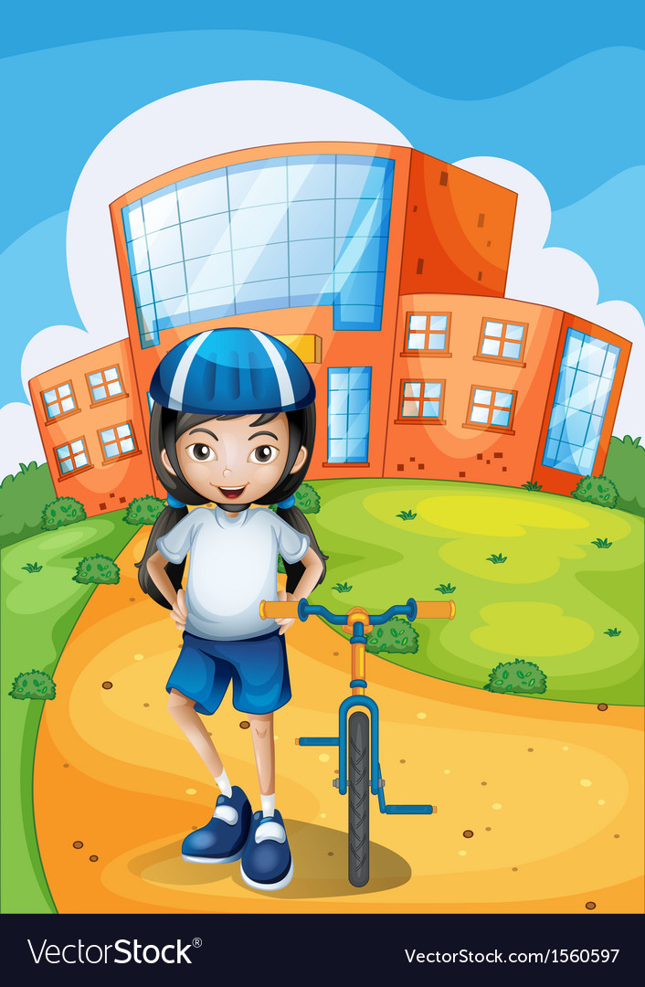 A female biker standing in front of a school vector | Price: 3 Credit (USD $3)
