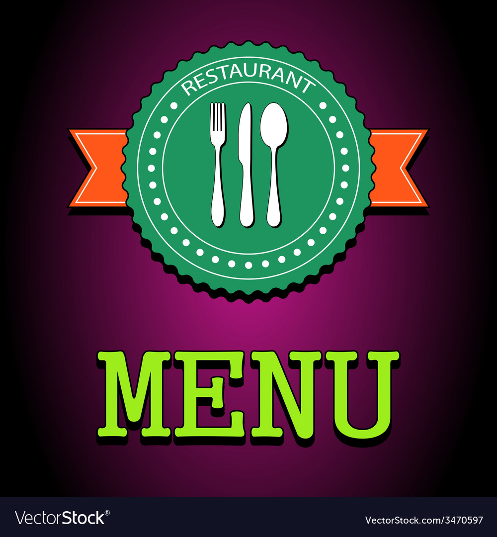Card restaurant menu label with flatware icon - vector | Price: 1 Credit (USD $1)