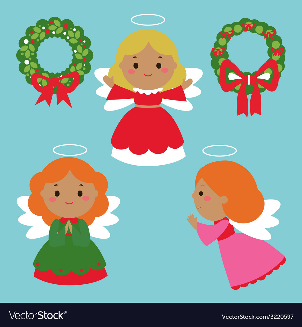 Cute angels characters vector | Price: 1 Credit (USD $1)